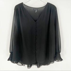 1. STATE Black Blouse Long Sleeves Ruffles 3X